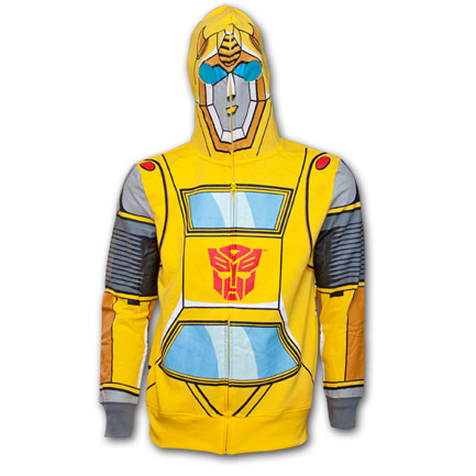 Transformers Full Hood Mask Autobot Bumblebee Sweatshirt Costume Hoodie