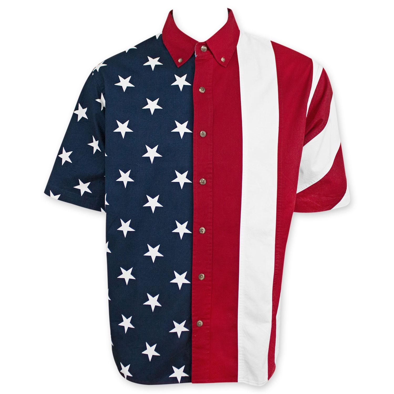 American flag usa button up dress shirt red ebay for Silk screen shirts near me
