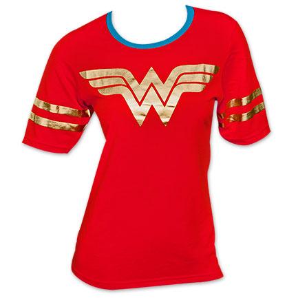 Wonder Woman Foil Logo Juniors Tee Shirt - Red
