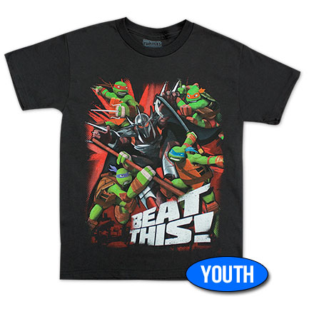 TMNT Beat This Youth Boys 8-20 Tee Shirt - Black