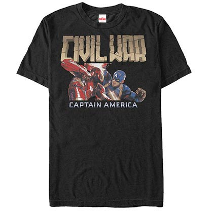 Captain America: Civil War Broken Black Mens T-Shirt