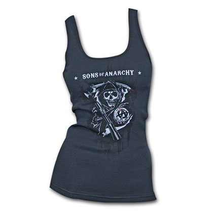 Sons Of Anarchy Drip Reaper Black Ribbed Womens Graphic Tank Top