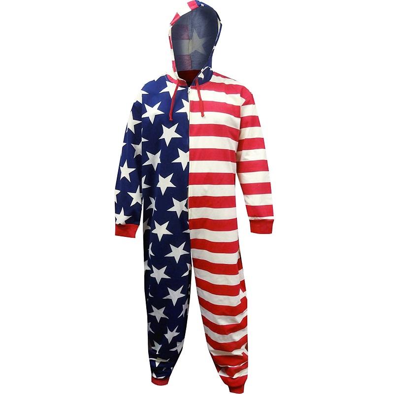 American Flag Patriotic Men's One Piece Union Suit Pajamas