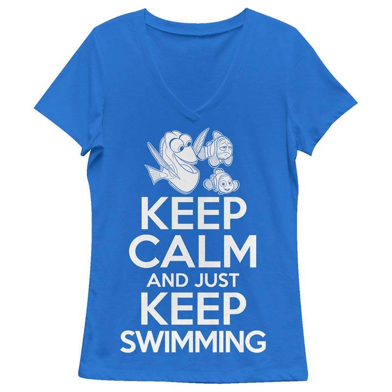 Disney Pixar Finding Dory Keep Calm Blue Juniors V Neck T-Shirt