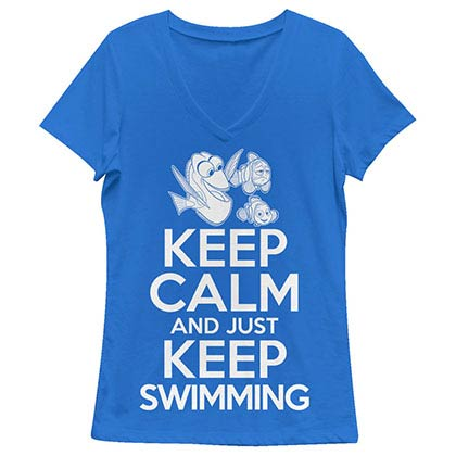 Disney Pixar Finding Dory Keep Calm Blue Juniors V Neck T-Shirt