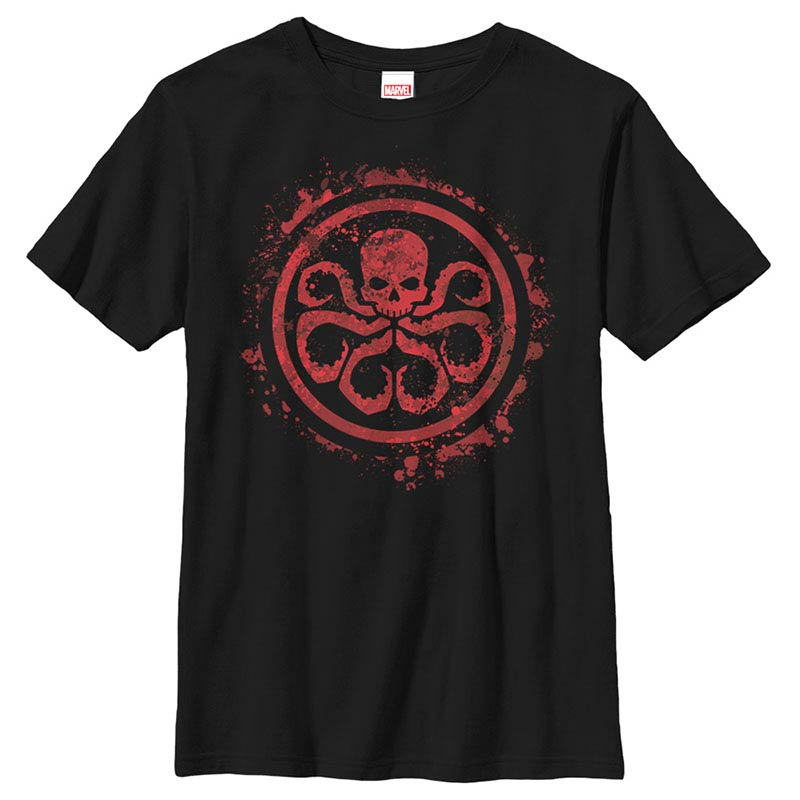 Avengers Hydra Splatter Icon Black Youth T-Shirt