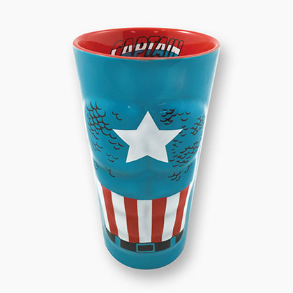 Captain America Blue Molded Pint Glass