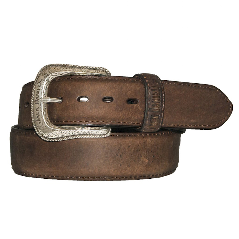 Jack Daniels Silver Plated Buckle Brown Leather Belt
