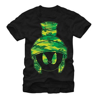 Looney Tunes Camo Marvin Black T-Shirt