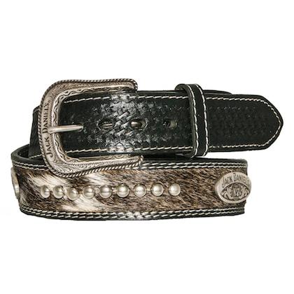 Jack Daniels Hair On Studded Leather Belt