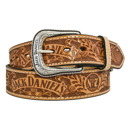 Jack Daniels Hand Tooled Oil Dipped Leather Belt
