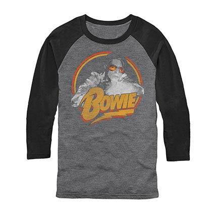 David Bowie Spotlight Raglan Gray Baseball T-Shirt