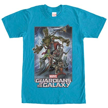 Guardians Of The Galaxy Galaxy Pose Up Blue Mens T-Shirt