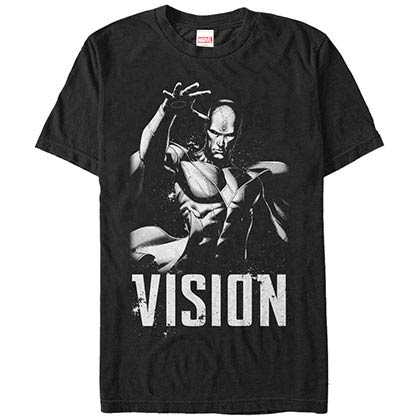 Marvel Grunge Vision Black Mens T-Shirt