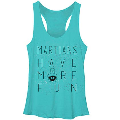 Looney Tunes Martian Fun Blue Juniors Racerback Tank Top