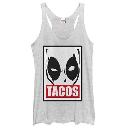 Deadpool Tacos White Juniors Tank Top