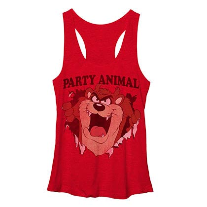 Looney Tunes Total Party Red Juniors Racerback Tank Top