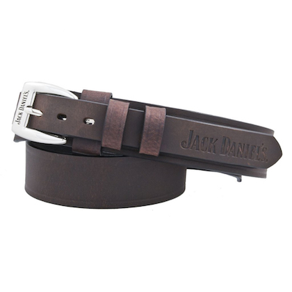 Jack Daniels Embossed Logo Leather Belt