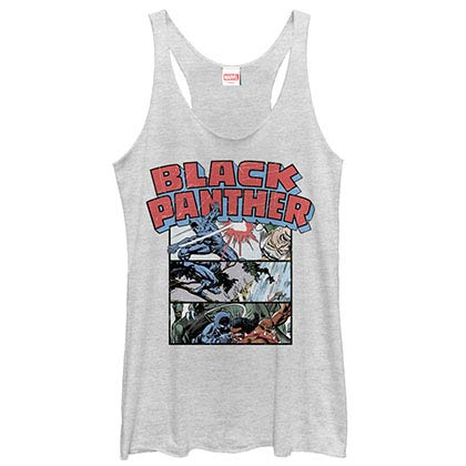 Black Panther Collage White Juniors Racerback Tank Top