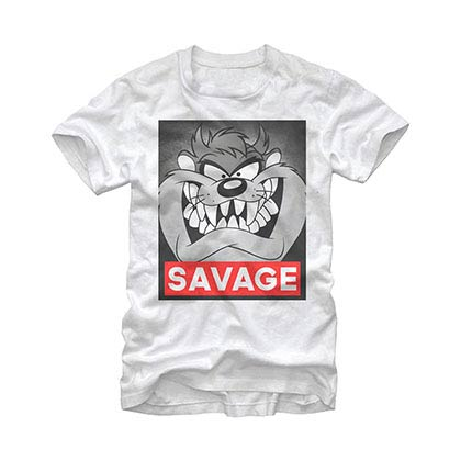 Looney Tunes Savage Taz White T-Shirt