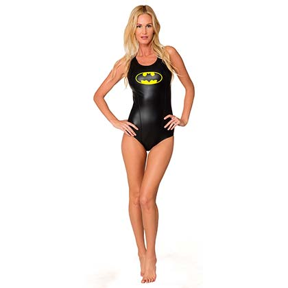 Batman Black Ladies Racerback One Piece Swimsuit
