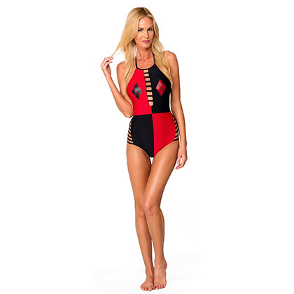 Harley Quinn Ladies One Piece Open Back Swimsuit