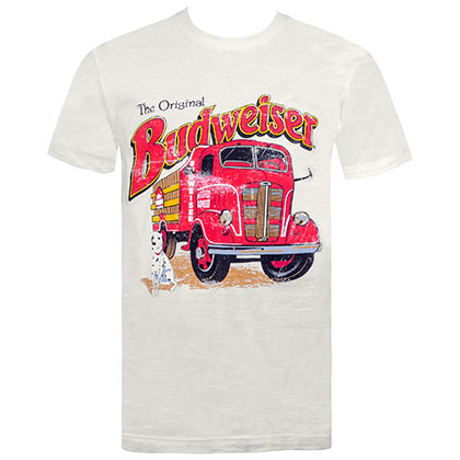 Budweiser Men's Off-White Retro Firetruck T-Shirt