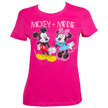 Mickey And Minnie Women's Pink Holding Hands T-Shirt
