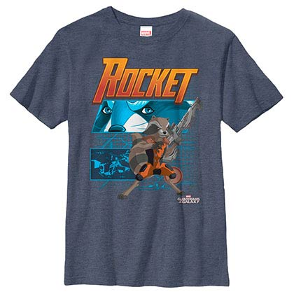 Guardians Of The Galaxy Rocket Diagram Blue Youth T-Shirt