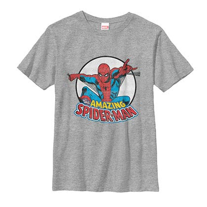 Spiderman Flying Spider Gray Youth T-Shirt