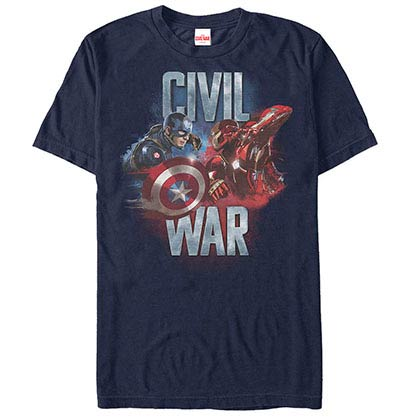 Captain America: Civil War Face Off Blue Mens T-Shirt