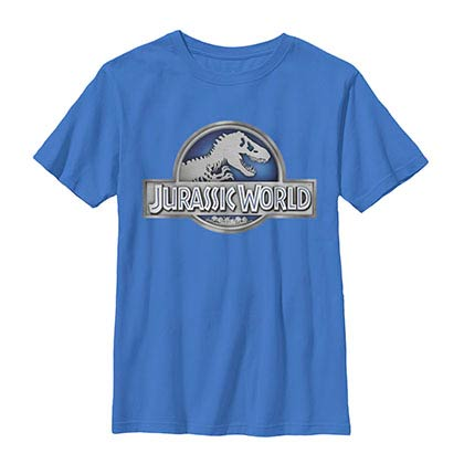 Jurassic World Basic Logo Blue Youth T-Shirt