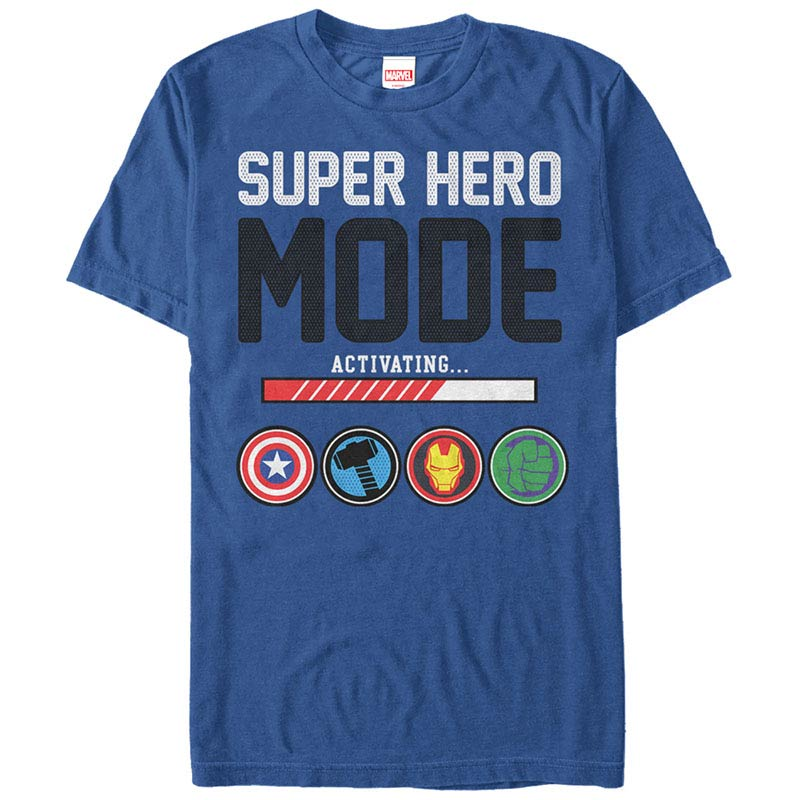Avengers Mode Activating Blue Mens T-Shirt