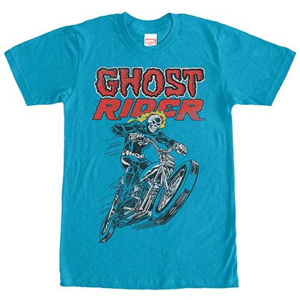 Ghost Rider Hot Head Blue Mens T-Shirt