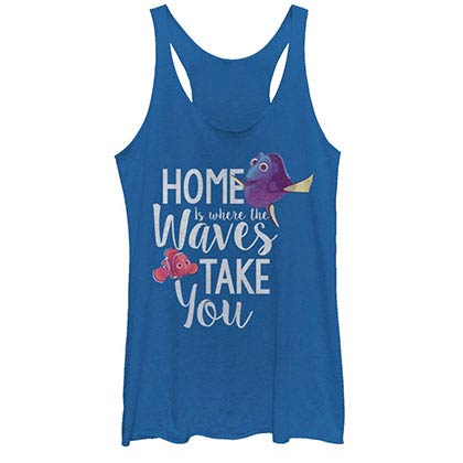 Disney Pixar Finding Dory Home Blue Juniors Racerback Tank Top