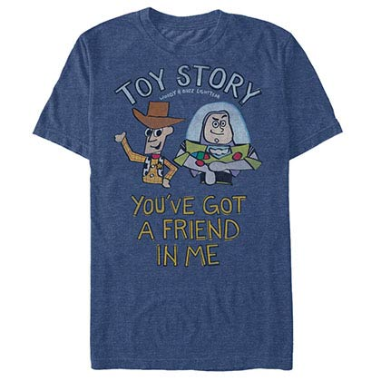 Disney Pixar Toy Story 1-3 Friend In Me Blue T-Shirt