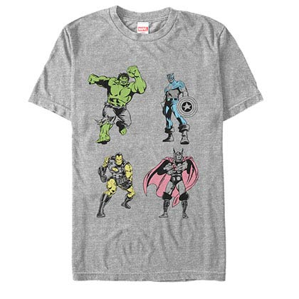 Avengers Neon Pop Avengers Gray Mens T-Shirt
