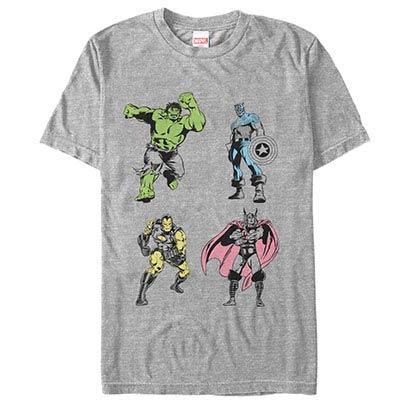Avengers Neon Pop Avengers Gray Mens T-Shirt