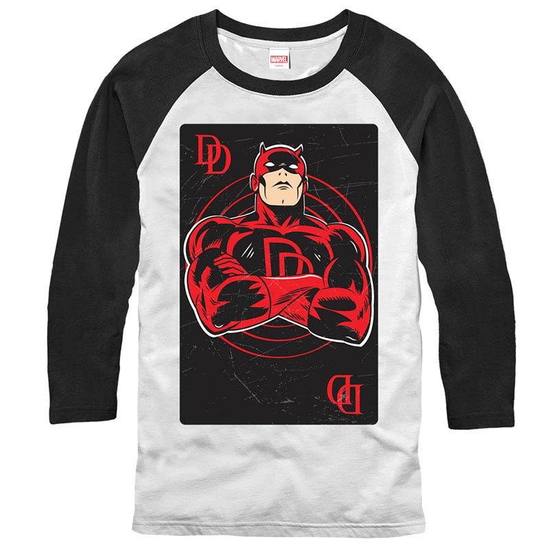 Daredevil Card Raglan White Mens Baseball T-Shirt