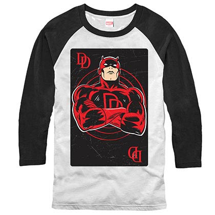 Daredevil Card Raglan White Mens Baseball T-Shirt