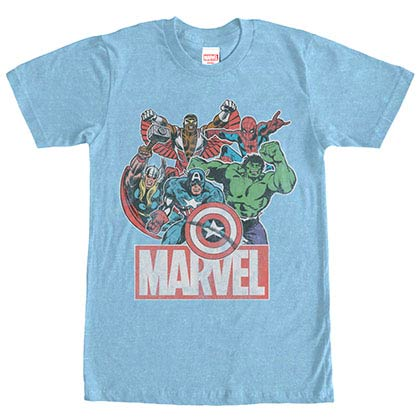 Marvel Teams The Heroes Blue Mens T-Shirt