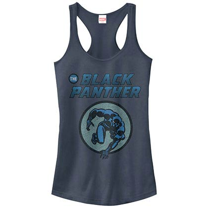 Black Panther Comic Blue Juniors Racerback Tank Top