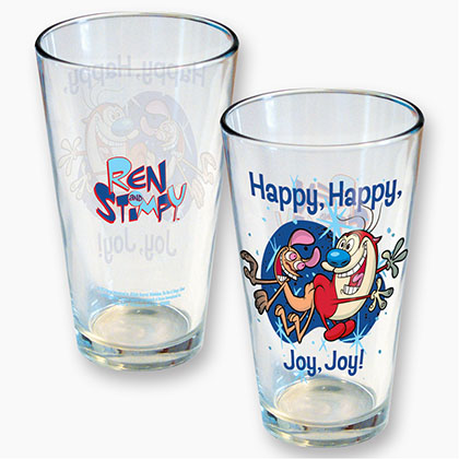Ren And Stimpy Beer Drinking Pint Glass