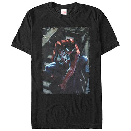 Spiderman Spider Staircase Black Mens T-Shirt