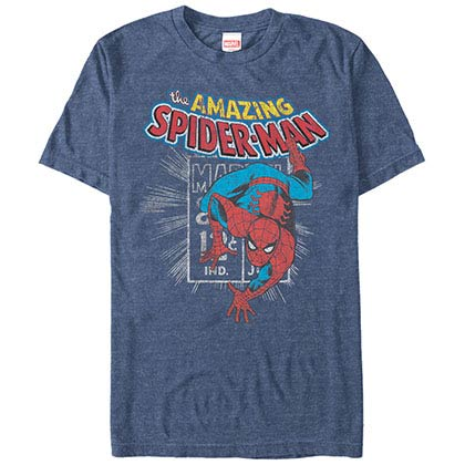 Spiderman Spidey Stamp Blue Mens T-Shirt