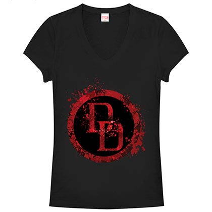Daredevil DD Splatter Icon Black Juniors V Neck T-Shirt