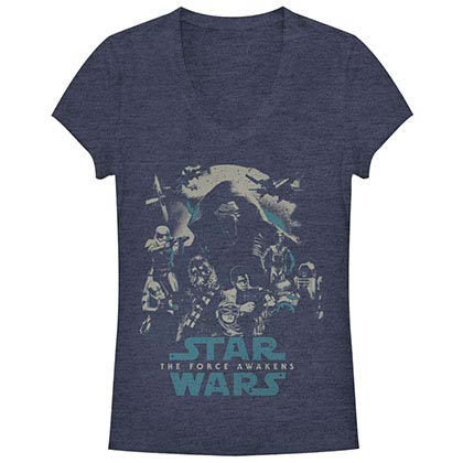 Star Wars Episode 7 Poster Out Blue Juniors V Neck T-Shirt