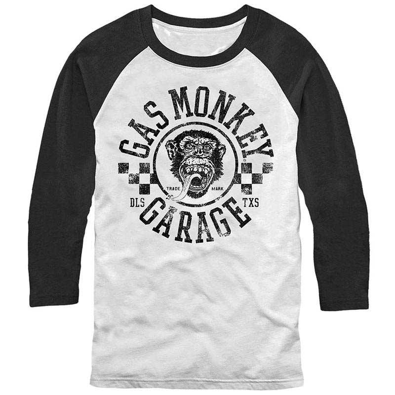 Gas Monkey Garage Rally White Baseball T-Shirt