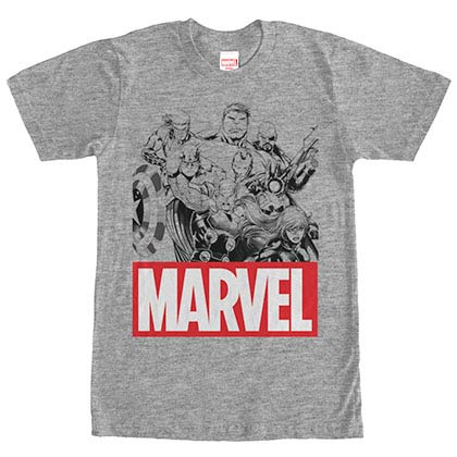 Marvel Teams Marvel Group Gray Mens T-Shirt