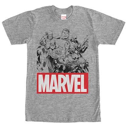 Marvel Teams Marvel Group Gray Mens T-Shirt